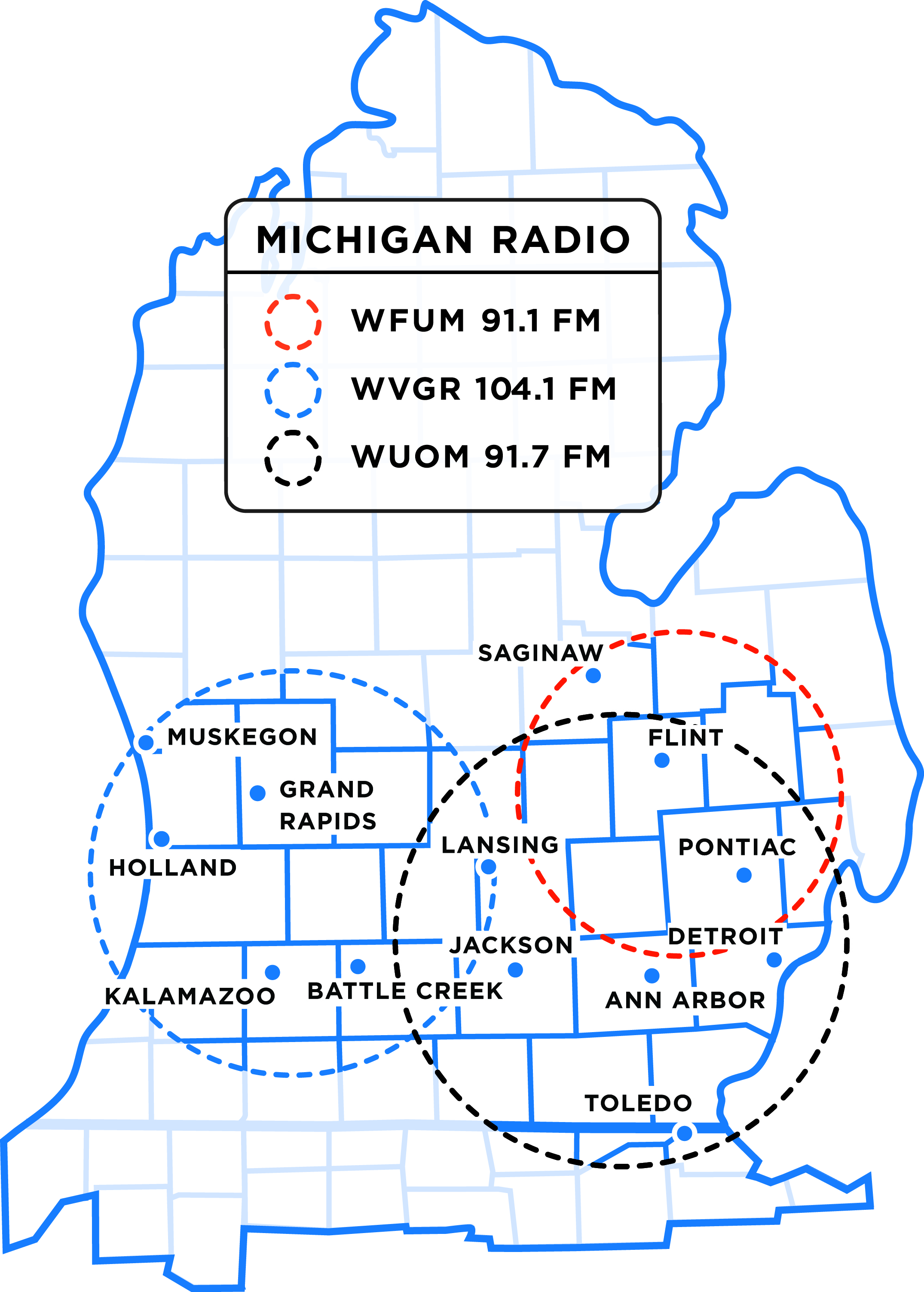 Michigan Radio Coverage Map 2015 print large